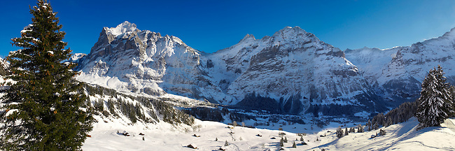 Alpine slopes in winter looking towards the wetterhorn mountain. Grindelwald, Swiss Alps