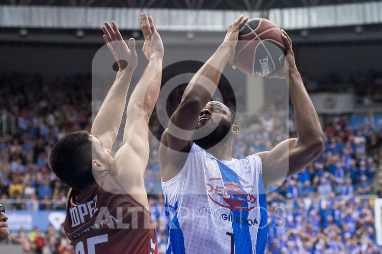 San Pablo Burgos Alex Lopez and Gipuzkoa Basket Danny Agbelese during Liga Endesa match between San Pablo Burgos and Gipuzkoa Basket at Coliseum Burgos in Burgos, Spain. December 30, 2017. (ALTERPHOTOS/Borja B.Hojas)