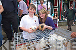 Seanand Aoife Godfery from Kilgarvan selling Chicks at Kenmare fair day on Saturday.