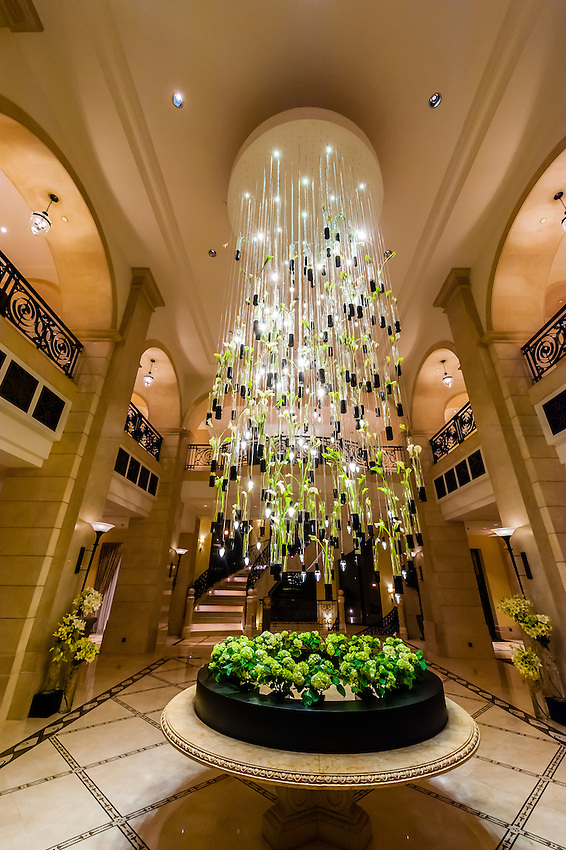 Chandelier in lobby of the Four Seasons Hotel Amman, Amman, Jordan.
