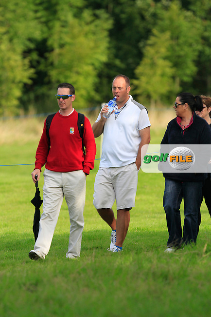 Ben Best (Rathmore) as a spectator on the 1st during Round 3 of the Northern Ireland Open Challenge in Galgorm Golf Club on Saturday 30th August 2014.<br /> Picture:  Thos Caffrey / www.golffile.ie