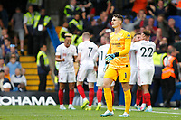GOAL - Kepa Arrizabalaga of Chelsea is unhappy at conceding during the Premier League match between Chelsea and Sheff United at Stamford Bridge, London, England on 31 August 2019. Photo by Carlton Myrie / PRiME Media Images.