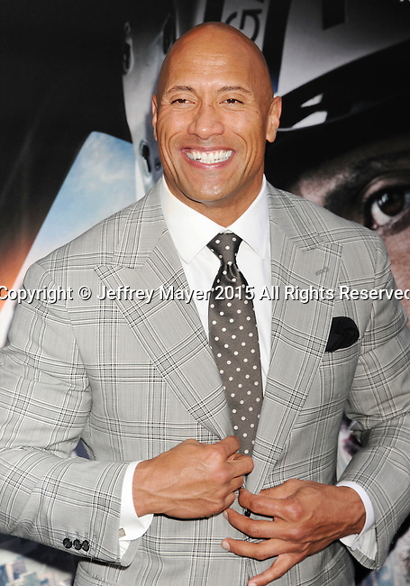 "HOLLYWOOD, CA - MAY 26: Actor Dwayne ""The Rock"" Johnson arrives at the 'San Andreas' - Los Angeles Premiere at TCL Chinese Theatre IMAX on May 26, 2015 in Hollywood, California."
