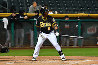 Gregorio Petit (8) of the Salt Lake Bees at bat against the Fresno Grizzlies in Pacific Coast League action at Smith's Ballpark on April 13, 2016 in Salt Lake City, Utah.  The Grizzlies defeated the Bees 6-0.  (Stephen Smith/Four Seam Images)