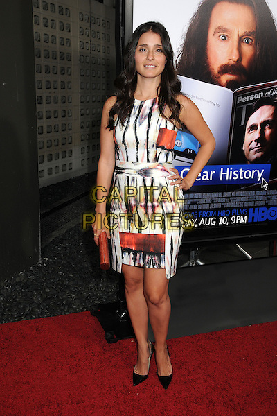 Shiri Appleby<br /> &quot;Clear History&quot; Los Angeles Premiere held at The Cimerama Dome, Hollywood, California, USA.<br /> July 31st, 2013<br /> full length white black red pattern dress hand on hip<br /> CAP/ADM/BP<br /> &copy;Byron Purvis/AdMedia/Capital Pictures