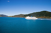 Interislander ferry Arahura heading for Wellington in the Tory Channel, Marlborough Sounds,South Island, New Zealand.