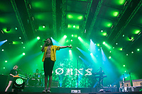 American singer, songwriter, and multi-instrumentalist Garrett Clark Borns known professionally as Borns performs with his band at a concert on the A38 Stage of Sziget Festival held in Budapest, Hungary on Aug. 14, 2018. ATTILA VOLGYI