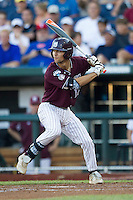 Mississippi State shortstop Adam Fraizer (12) at bat against the Indiana Hoosiers during Game 6 of the 2013 Men's College World Series on June 17, 2013 at TD Ameritrade Park in Omaha, Nebraska. The Bulldogs defeated Hoosiers 5-4. (Andrew Woolley/Four Seam Images)