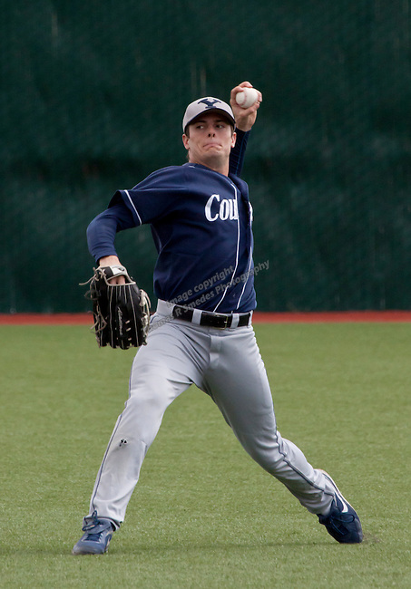 March 24, 2012:  BYU Cougars outfielder Jaycob Brugman throws the ball against the Nevada Wolf Pack during their NCAA baseball game played at Peccole Park on Thrusday afternoon in Reno, Nevada.