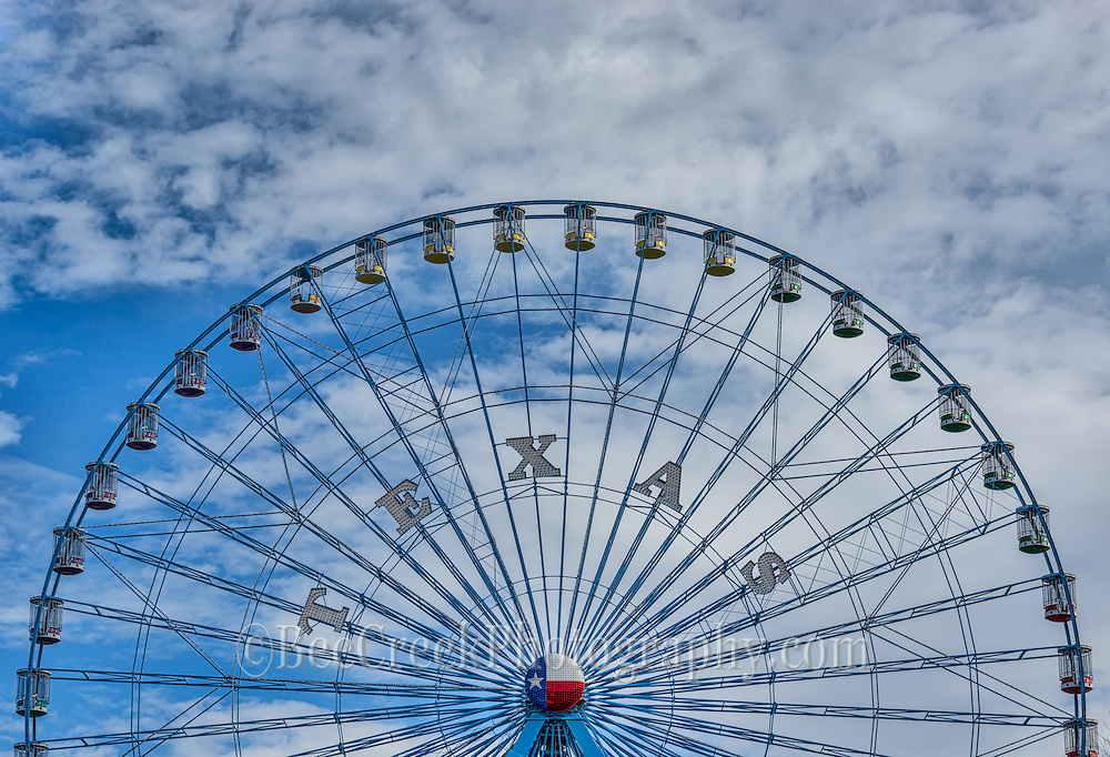 The Texas Star in Dallas at the fair is one of the largest ferris wheels in the USA.  It can be seen from downtown Dallas so it plenty big.  It is just one of the many rides at the Texas State Fair and is one of many things to see and do.