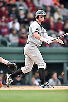 South Carolina Gamecocks first baseman Alex Destino (24) swings at a pitch during a game against the Clemson Tigers at Fluor Field on March 5, 2016 in Greenville, South Carolina. The Tigers defeated the Gamecocks 5-0. (Tony Farlow/Four Seam Images)
