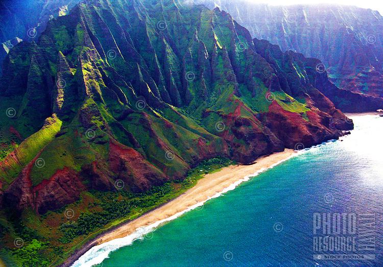 Aerial of Kalalau Beach on the Na Pali Coast, Kauai