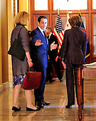 Washington, D.C. - March 30, 2010 -- President Nicolas Sarkozy of France and the Speaker of the United States House of Representatives Nancy Pelosi (Democrat of California) walk away from the press after making statements in the U.S. Capitol on Tuesday, March 30, 2010.  The person at left is an unidentified interpreter..Credit: Ron Sachs / CNPWashington, D.C. - March 30, 2010 -- President Nicolas Sarkozy of France visits the Speaker of the United States House of Representatives Nancy Pelosi (Democrat of California) in the U.S. Capitol on Tuesday, March 30, 2010..Credit: Ron Sachs / CNP