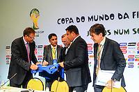 RIO DE JANEIRO, RJ, 30 AGOSTO 2012-FIFA-ENTREVISTA COLETIVA- O secretário-geral da FIFA, Jerome Valcke, o presidente do COL, Jose Maria Marin, os membros do Conselho de Administracao do COL, Bebeto e Ronaldo, e o secretario executivo do Ministerio do Esporte, Luis Fernandes.,na entrevista coletiva realizada pelo Comitê Organizador Local (COL) da Copa do Mundo da FIFA 2014, posterior à reunião de Diretoria do COL, no dia 30 de agosto de 2012, no Rio de Janeiro, no Hotel Windsor, na Barra da Tijuca, zona oeste do Rio de Janeiro.(FOTO:MARCELO FONSECA/BRAZIL PHOTO PRESS).