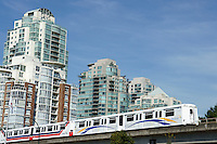 The Skytrain elevated public transportation system in Vancouver, british Columbia, Canada