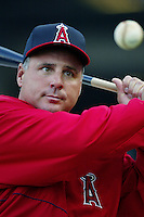 Los Angeles Angels Manager Mike Scioscia before a 2002 MLB season game at Angel Stadium, in Anaheim, California. (Larry Goren/Four Seam Images)