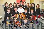 MUSIC IN SCHOOLS: The students of Gaelcholaiste Chiarrai who preformed in the Kerry Education Service Music in Schools at Siamsa Tire, Tralee on Friday front l-r: Alannah Ni Chiosain and Donagh Mac Uilleagoid. Centre l-r: Eimear Ni Chuileanain, Sean O Beaglaoi, Gearoid O Gealbhain, Tadgh O Loingsigh and Fionn O Caochlaoch. Back l-r: Aebhin Ni Eadhra, Ruth Ni hOgain, Sadhbh Ni Chaochlaoich, Aislinn Ringland, Neasa Nic an tSithigh, Darragh O Seachnasaigh, Maura Ni Chonaill, Jean Ni Fhearghaille, Tadhg O Floinn and Jane Daltuin.