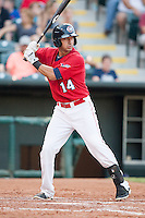 Oklahoma City RedHawks shortstop Jiovanni Mier (14) at bat during the Pacific League game against the Colorado Springs Sky Sox at the Chickasaw Bricktown Ballpark on August 3, 2014 in Oklahoma City, Oklahoma.  The RedHawks defeated the Sky Sox 8-1.  (William Purnell/Four Seam Images)