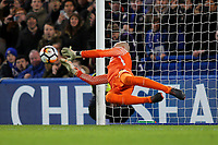 Chelsea goalkeeper, Willy Caballero saves a penalty taken by David Meyler of Hull during Chelsea vs Hull City, Emirates FA Cup Football at Stamford Bridge on 16th February 2018