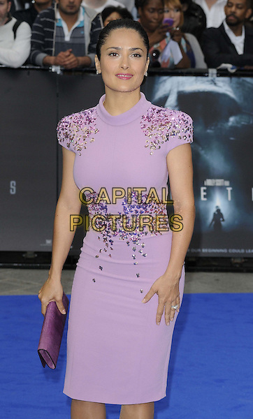 Salma Hayek.The 'Prometheus' world film premiere, Empire cinema, Leicester Square, London, England..May 31st, 2012.half length purple dress emebellished jewel encrusted lilac clutch bag   .CAP/CAN.©Can Nguyen/Capital Pictures.