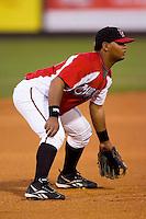 Third baseman Juan Francisco #34 of the Carolina Mudcats on defense versus the Jacksonville Suns at Five County Stadium May 18, 2009 in Zebulon, North Carolina. (Photo by Brian Westerholt / Four Seam Images)