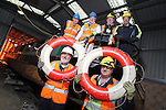 SSE Barge Restoration.Dave Binding, SSE and Wyn Mitchell, Monmouth, Brecon and Abergavenny Canal Trust with Richard Dommett MBE and Roger Francis, Monmouth, Brecon and Abergavenny Canal Trust and Malcolm White and Bev Friend from SSE..Uskmouth Power Station.01.03.12.©STEVE POPE