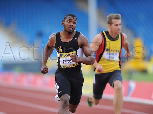 22.06.2012 Birmingham, ENGLAND: 100m Heat Joel Fearon in action during the Aviva Trials at the Alexandra Stadium...