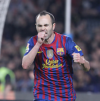 31.03.2012 Barcelona, Spain. Picture show Andres Iniesta after scoringi  during La Liga match between FC Barcelona against Athletico de Bilbao at Camp Nou