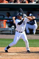 Detroit Tigers outfielder Daniel Fields #74 at bat during a Spring Training game against the Atlanta Braves at Joker Marchant Stadium on February 27, 2013 in Lakeland, Florida.  Atlanta defeated Detroit 5-3.  (Mike Janes/Four Seam Images)