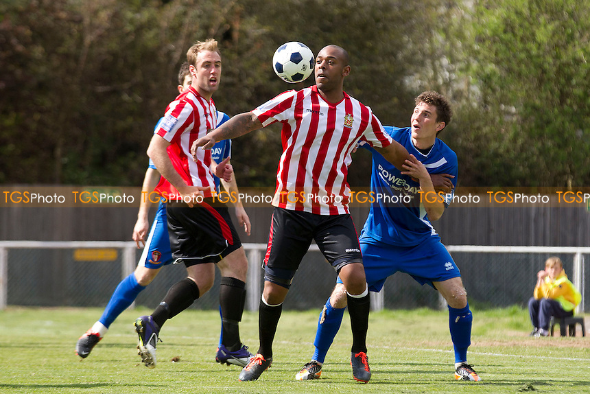 Kieron St Aimie of AFC Hornchurch holds the ball up under pressure - AFC Hornchurch vs Hayes & Yeading - Blue Square Conference South Football at The Stadium - 27/04/13 - MANDATORY CREDIT: Ray Lawrence/TGSPHOTO - Self billing applies where appropriate - 0845 094 6026 - contact@tgsphoto.co.uk - NO UNPAID USE.