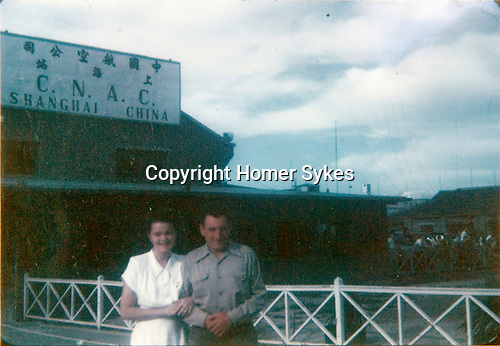 Helen Elsie Grimmitt and Homer Warwick Sykes. Lunghua Airport, C.N.A.C. Shanghai China. This is the airport where my father worked and got killed. China National Aviation Corporation (CNAC) 19147/1948