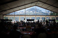 mountain top pressroomwith a view at 2000m altitude<br /> <br /> stage 17: Bern (SUI) - Finhaut-Emosson (SUI) 184.5km<br /> 103rd Tour de France 2016