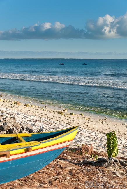 A traditional canoe on the remote island of Kiritimati in Kiribati