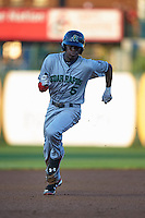Cedar Rapids Kernels shortstop Nick Gordon (5) running the bases during a game against the South Bend Cubs on June 5, 2015 at Four Winds Field in South Bend, Indiana.  South Bend defeated Cedar Rapids 9-4.  (Mike Janes/Four Seam Images)