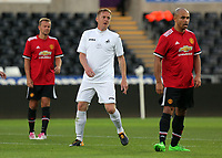 Garry Monk of Swansea (C) in action during the Swansea Legends v Manchester United Legends at The Liberty Stadium, Swansea, Wales, UK. Wednesday 09 August 2017