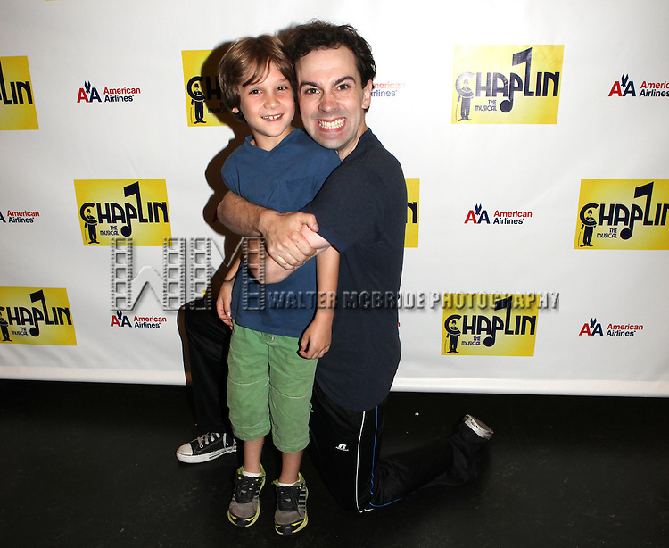 Zachary Unger & Rob McClure.attends the Meet & Greet the cast of the New Broadway Show 'Chaplin The Musical'  at Foxwoods Theater Rehearsal Studios on August 7, 2012 in New York City.