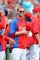 Philadelphia Phillies pitcher Kyle Kendrick #38 before a Spring Training game against the Boston Red Sox at Bright House Field on March 24, 2013 in Clearwater, Florida.  Boston defeated Philadelphia 7-6.  (Mike Janes/Four Seam Images)