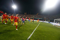 Benevento  players celebrates their promotion to Italian Serie A championship after the victory   in Serie B play-off match played against Carpi FC at Vigorito stadium in Benevento 08 giugno 2017<br /> i calciatori del benevento festeggiano la promozione della squadra in Serie A