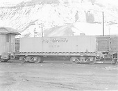 Side view of water car #0470 (Tender type) at Durango.  Ex Unitah car.<br /> D&amp;RGW  Durango, CO  Taken by Payne, Andy M. - 3/31/1969