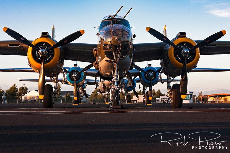 A trio of B-25 Mitchell bombers are lined up on the rampe during the 2010 Madera Gathering of Warbirds.
