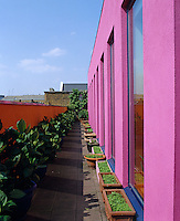 View down the roof terrace of Zandra Rhodes' penthouse above her Fashion and Textile museum in London
