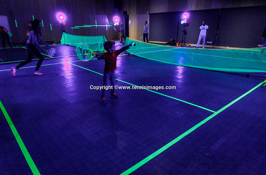 The Hague, The Netherlands, Februari 8, 2020,    Sportcampus, FedCup  Netherlands -  Balarus, Glow in the dark<br /> Photo: Tennisimages/Henk Koster