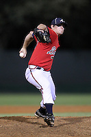 Atlanta Braves pitcher Matt Chaffee #40 during an Instructional League game against the Houston Astros at Wide World of Sports on September 28, 2011 in Kissimmee, Florida.  (Mike Janes/Four Seam Images)