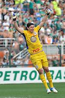 ATENÇÃO EDITOR: FOTO EMBARGADA PARA VEÍCULOS INTERNACIONAIS - SÃO PAULO, SP, 16 DE SETEMBRO DE 2012 - CAMPEONATO BRASILEIRO - PALMEIRAS x CORINTHIANS: Goleiro Cássio comemora segundo gol do Corinthinas durante partida Palmeiras x Corinthians, válida pela 25ª rodada do Campeonato Brasileiro no Estádio do Pacaembú. FOTO: LEVI BIANCO - BRAZIL PHOTO PRESS