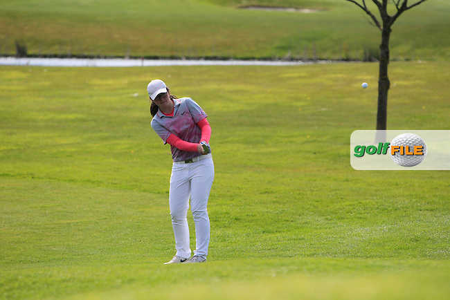 Ciara Casey (Hermitage) on the 18th green during Round 3 of The Irish Girls Open Strokeplay Championship in Roganstown Golf Club on Sunday 19th April 2015.<br /> Picture:  Thos Caffrey / www.golffile.ie