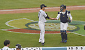 (L-R) Tomoyuki Sugano, Seiji Kobayashi (JPN),<br /> MARCH 21, 2017 - WBC :<br /> Japan's starting pitcher Tomoyuki Sugano gets a five from catcher Seiji Kobayashi during the 2017 World Baseball Classic Semifinal game between United States 2-1 Japan at Dodger Stadium in Los Angeles, California, United States. (Photo by AFLO)