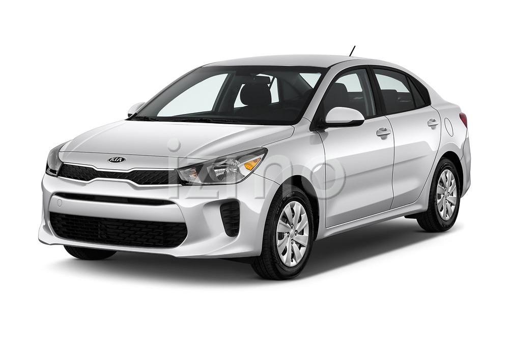 2018 KIA Rio S 4 Door Sedan angular front stock photos of front three quarter view