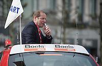 ASO boss Christian Prudhomme (FRA) adressing the riders at the start<br /> <br /> Liège-Bastogne-Liège 2014