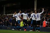 28th September 2017, Goodison Park, Liverpool, England; UEFA Europa League group stage, Everton versus Apollon Limassol; Hector Yuste of Apollon Limassol celebrates his 88th minute goal with his team mates