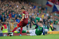Northern Ireland's Kyle Lafferty slides in for a challenge on Czech Republic's Marek Suchy     <br /> <br /> <br /> Photographer Craig Mercer/CameraSport<br /> <br /> FIFA World Cup Qualifying - European Region - Group C - Northern Ireland v Czech Republic - Monday 4th September 2017 - Windsor Park - Belfast<br /> <br /> World Copyright &copy; 2017 CameraSport. All rights reserved. 43 Linden Ave. Countesthorpe. Leicester. England. LE8 5PG - Tel: +44 (0) 116 277 4147 - admin@camerasport.com - www.camerasport.com